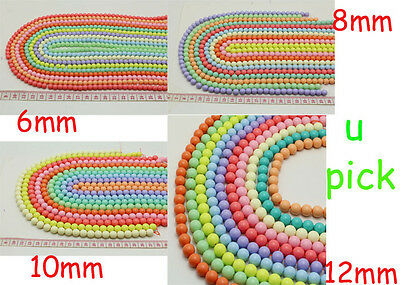 10 Colors New 6MM 8MM 10MM 12MM Charms Acrylic Beads Round Beads Jewelry Making