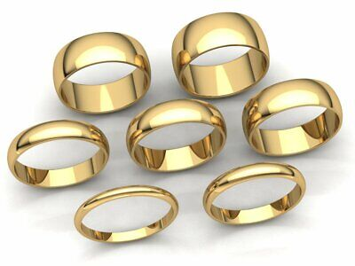 Domed Plain Band Ring Mens Womens 2mm 3mm 4mm 5mm 6mm 7mm 8mm Solid 10k Gold