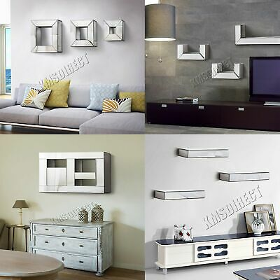 FoxHunter Bevelled Mirrored Furniture Glass Floating Shelves Set Wall Storage