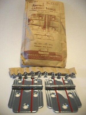 Vintage NOS CHROME Cabinet Door Hinges RED Lines Flush Mount Art Deco Amerock