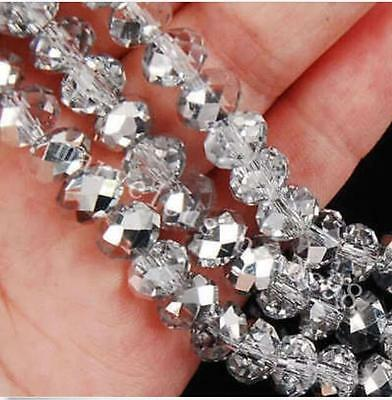 100PCS 4x6mm silver white AB Crystal Faceted Loose Beads