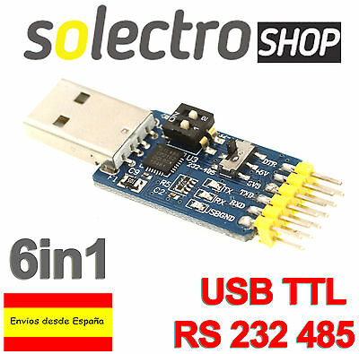 6-in-1 Multifunction USB 2.0 to CP2102 TTL RS485 RS232 3.3V 5V ARDUINO C0011
