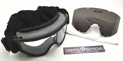 NEW ESS Vehicle Ops Unit Issue Goggles (Black) CLEAR & GRAY LENSES ESS01BK-MC