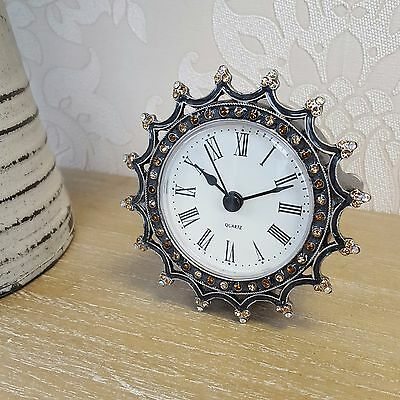 Small Crown Mantle Clock Vintage French Antique Style Home Gift