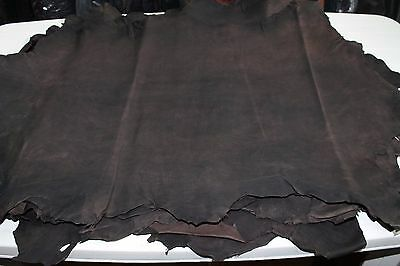 Thick Strong Goatskin leather vegetable tan DARK BROWN ANTIQUED DISTRESSED 5sqf