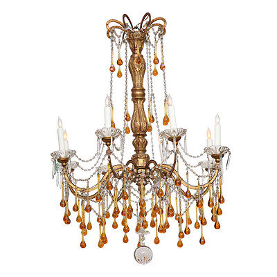 French 19th Century Chandelier with Amber Crystals