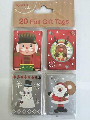 ** 20 Christmas Foil Gift Tags Various Designs New ** Present Wrapping Santa