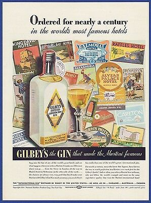 Vintage 1939 GILBEY'S Gin Alcohol Famous Hotels Art Decor Print Ad 1930's 30's