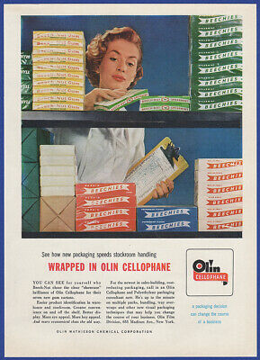 Vintage 1955 OLIN Cellophane Mathieson Chemical Corp. Beech-Nut Print Ad 50's
