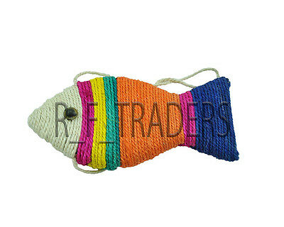 Fish Shape Scratch Board Scratching Play Kitten Cat Dog Fun Toy Sisal Rope Fish