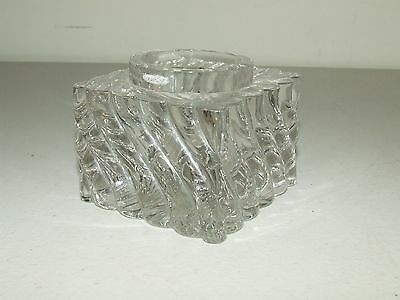 "Antique Heavy Ornate Victorian Clear Glass Crystal Inkwell 2 3/4"" x 2 3/4"""