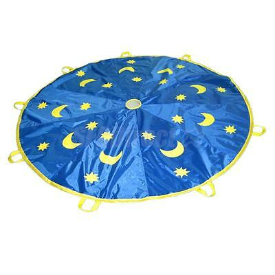300cm Moons & Stars Kids Play Parachute w/ 8 Haddles Outdoor Game Sports Toy