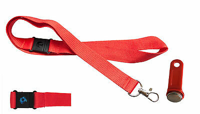 Genuine Non-magnetic ibutton Dallas Key fobs -tills/EPOS + Matching Lanyard RED