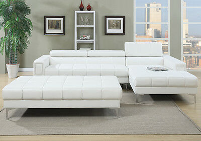 CONTEMPORARY SECTIONAL SOFA Flip Headrests Large Seating Chaise XL ...