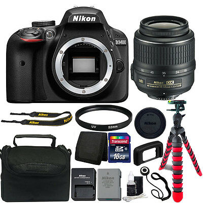 Nikon D3400 24MP Digital SLR Camera + 18-55mm Lens + Great Value Accessory Kit