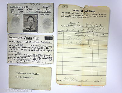 1922 - 1946 STUDEBAKER CORP ID Card And Other Paper Work South Bend, Indiana.