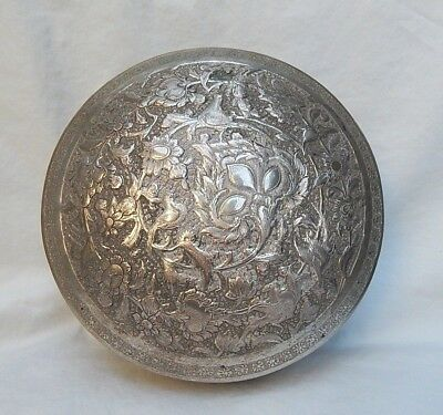 Antique 84 Silver Middle Eastern Round Repose Box   Magnificent