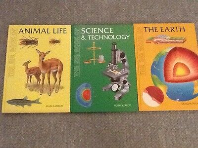 lot of three books big book of Animal Life, The Earth, Science And Technology