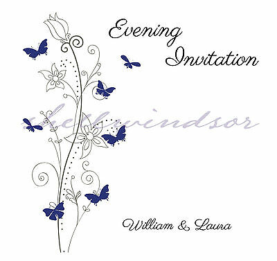 Butterfly Wedding Invitations personalised with envelopes, day or  evening