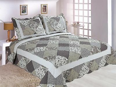 94-All For You 3PC 100% COTTON quilt set, coverlet, bedspread- 3 Sizes