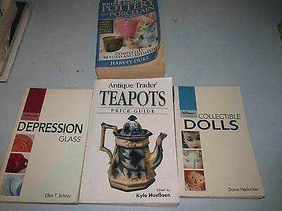 LOT OF 4 Books Antique Trader Teapots, Pottery, Depression Glass, Dolls