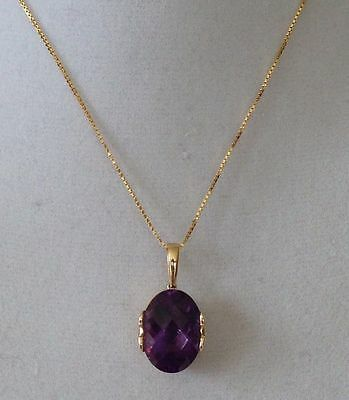 """14K Yellow Gold Cushion Cut Oval Amethyst Pendant Necklace - 20"""" Box Chain"""