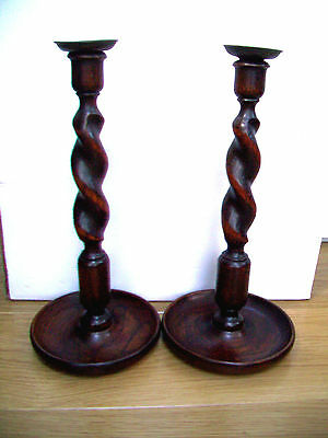 Large Pair Of Oak Antique Barley Twist Candlesticks With  Brass  Sconces