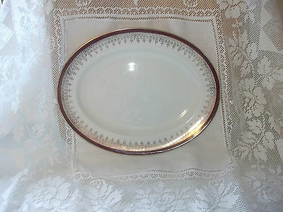 Alfred Meakin Glow Glo White  Oval Platter   Burgundy & Gold