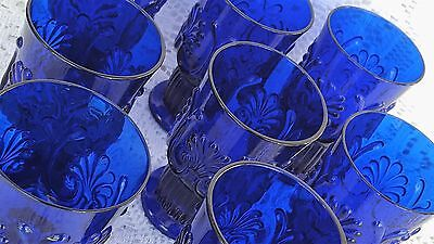 RARE 8 Pilgrim Glass Adams Cobalt Blue 5.5 Ounce Juice Glass Tumbler Shell Palm