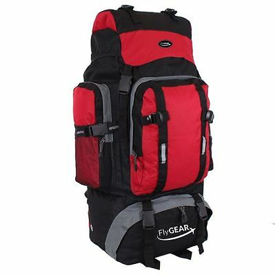Large 80L Camping Hiking Travel Outdoor Rucksack Backpack Luggage Bag Red