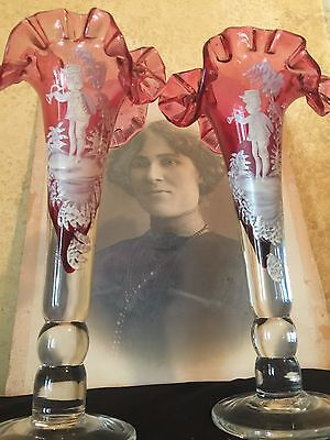 Wonderful Pair Antique Vintage MARY GREGORY Ruby Cranberry Glass Ruffled Vases