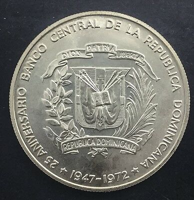 Dominican Republic 1972 Silver Peso Mint State BU Very Choice Crown