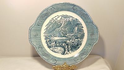 "Royal China USA Currier & Ives Blue Tab Handle 11 5/8"" Cake Plate Rocky Mountain"