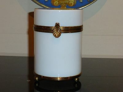 Large Vintage Ormolu White Opaline Glass Jewelry Box