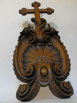 17Th Century Carved Baroque Walnut Cross In Shell From Lisieux Cathedral France