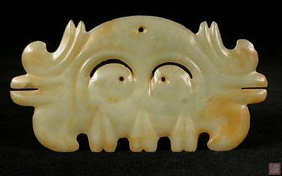 Translucent Chinese Green Jade Stone Comb-Shaped Mask-Like Ornament Artifact