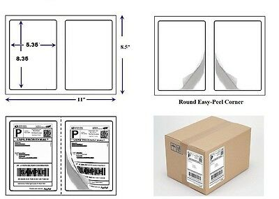"""200 Quality Round Corner Shipping Labels 2 Per Sheet 8.5"""" x 5.5"""""""