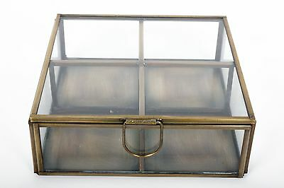 Antique Vintage Brass Glass Retro Jewellery Square Trinket Storage Display Box