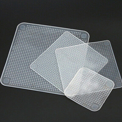 Kitchen Tool Clear Square Reusable Silicone Food Wrapper Seal Cover Film Cool