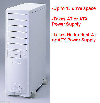 Big AT/ ATX Beige Server Tower Chassis Case. 15 bays. SIngle / Dual PSU ECE6102