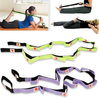 Yoga Strap Gym Stretch Out  Pilates with Exercise Booklet Fitness Training Belt