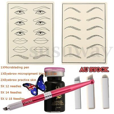 Microblading Permanent Eyebrow Make Up Kit Pen Practice Skin Needle For Learner