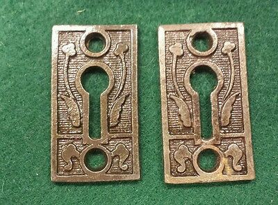 Pair Decorative Victorian Style Key Hole Covers~Cast Iron