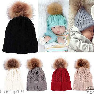 Newborn Winter Kids Baby Warm Hat Knitted Wool Girl Boy Hemming Crochet Ski Cap