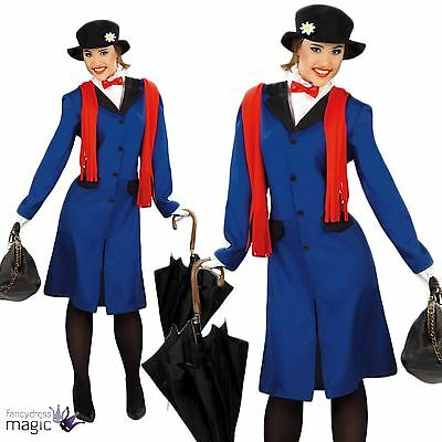 Ladies Womens Adult Victorian Nanny Mary Poppins Book Fancy Dress Costume Outfit