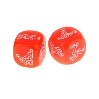 2Pcs Red Glow In The Dark Couples Bedroom Fun D6 Dice Adult Erotic Fun Toy