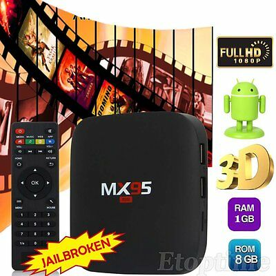 2016 Fully Loaded Tx1 Android 4.4 TV Box KODI XBMC Quad Core Free Sports Movies