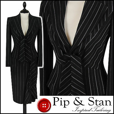 Next Black Pinstripe Uk10/8 Us6/4 Pencil Skirt Suit 40S 50S Inspired Womens Size