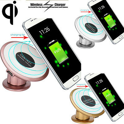 Qi Wireless Charger Charging Pad Car Sticky Magnetic Stand Holder For Samsung UK