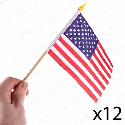 "12 x USA SMALL HAND WAVING FLAGS With Wooden Pole U.S.A America/American 6"" x 4"